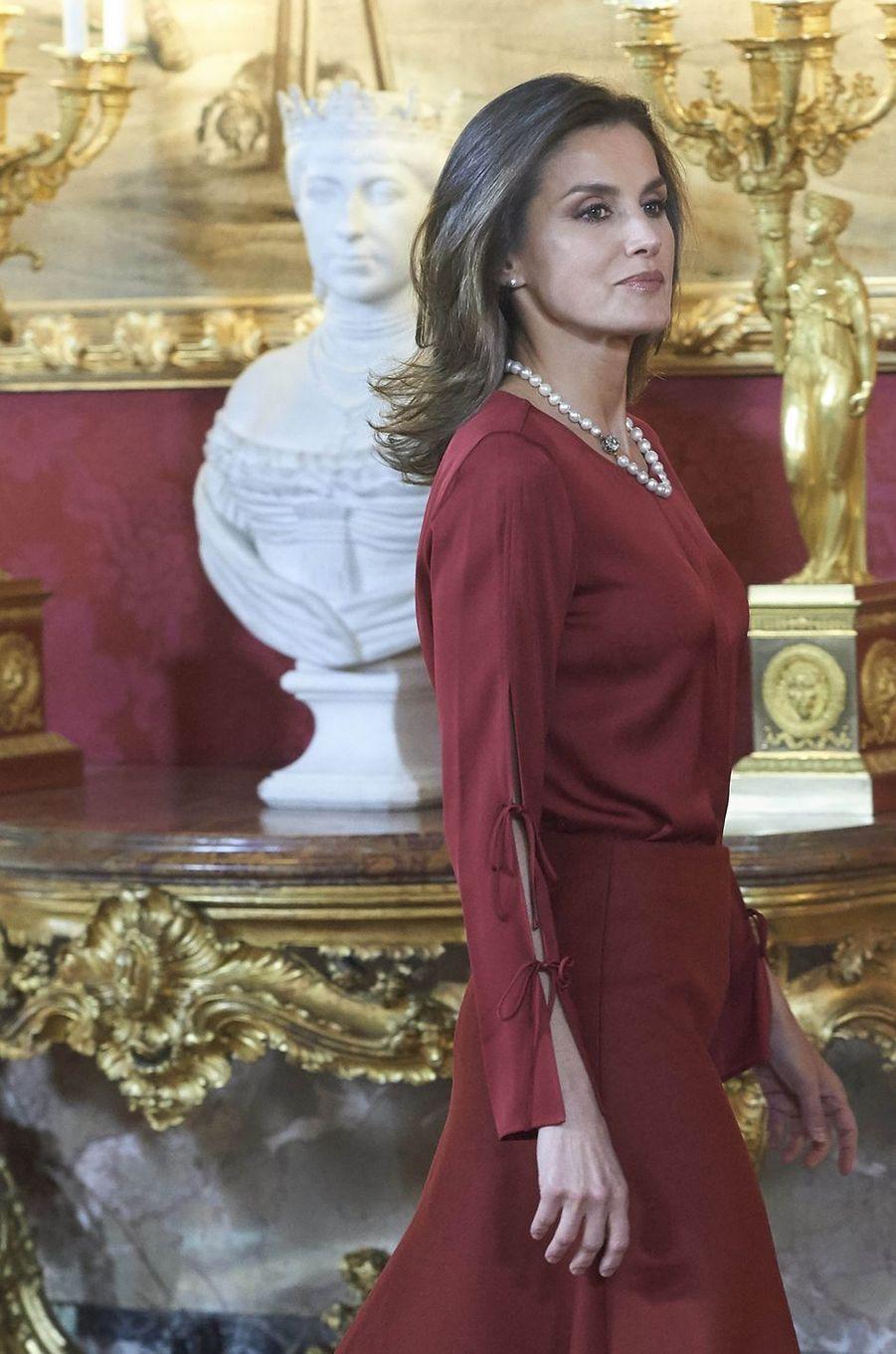 La reine Letizia d'Espagne à Madrid, le 24 octobre 2018