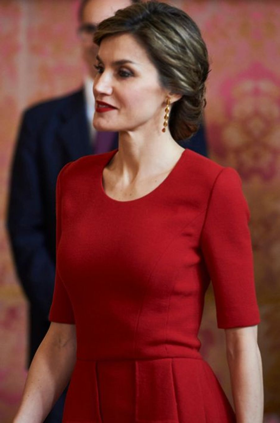 La reine Letizia d'Espagne à Madrid, le 22 avril 2016