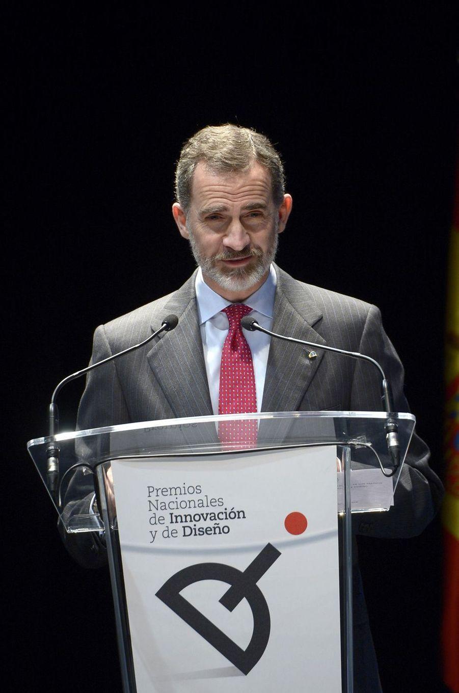 Le roi Felipe VI d'Espagne à Mostoles, le 12 février 2018