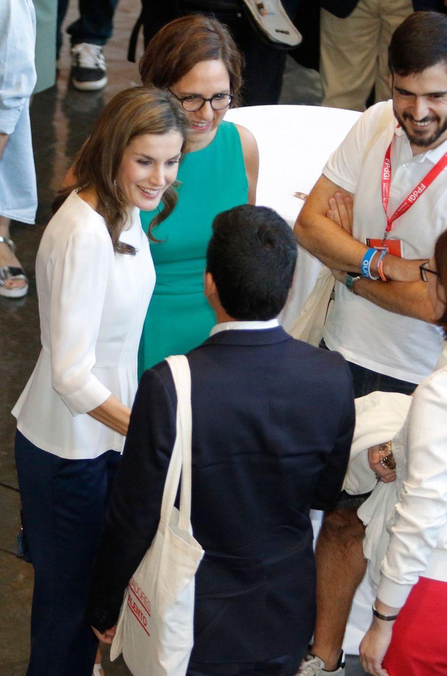 La reine Letizia d'Espagne à Gérone, le 30 juin 2017