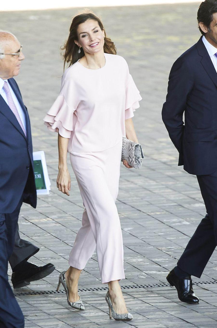 La reine Letizia d'Espagne à Madrid le 4 juillet 2017
