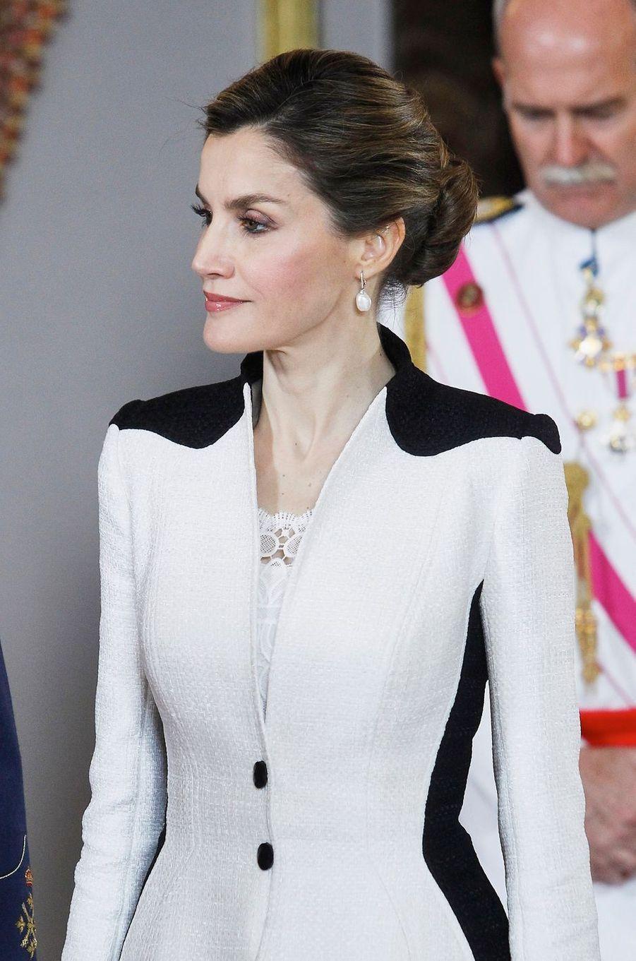 La reine Letizia d'Espagne au Palais royal à Madrid, le 28 mai 2016