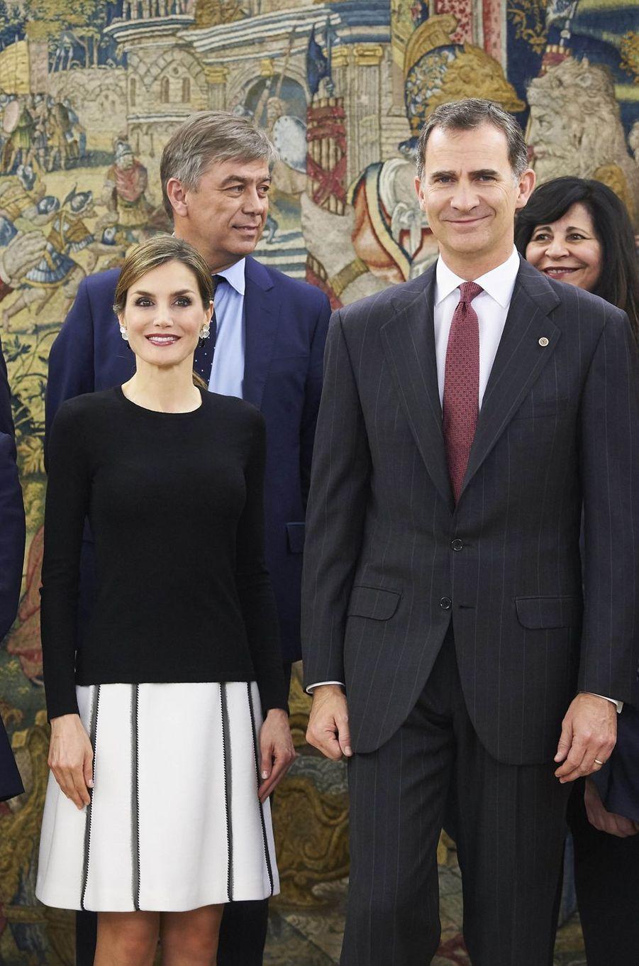 La reine Letizia et le roi Felipe VI d'Espagne à Madrid, le 2 juin 2016