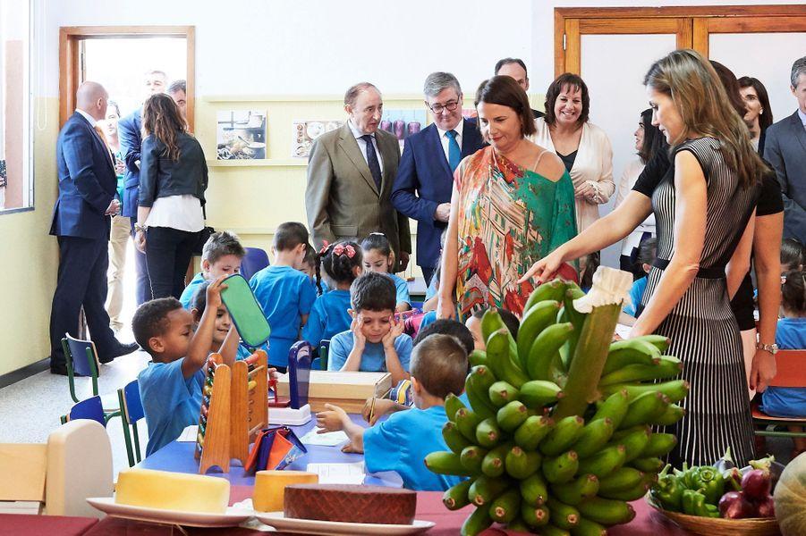 La reine Letizia d'Espagne à La Laguna aux Canaries, le 19 septembre 2017