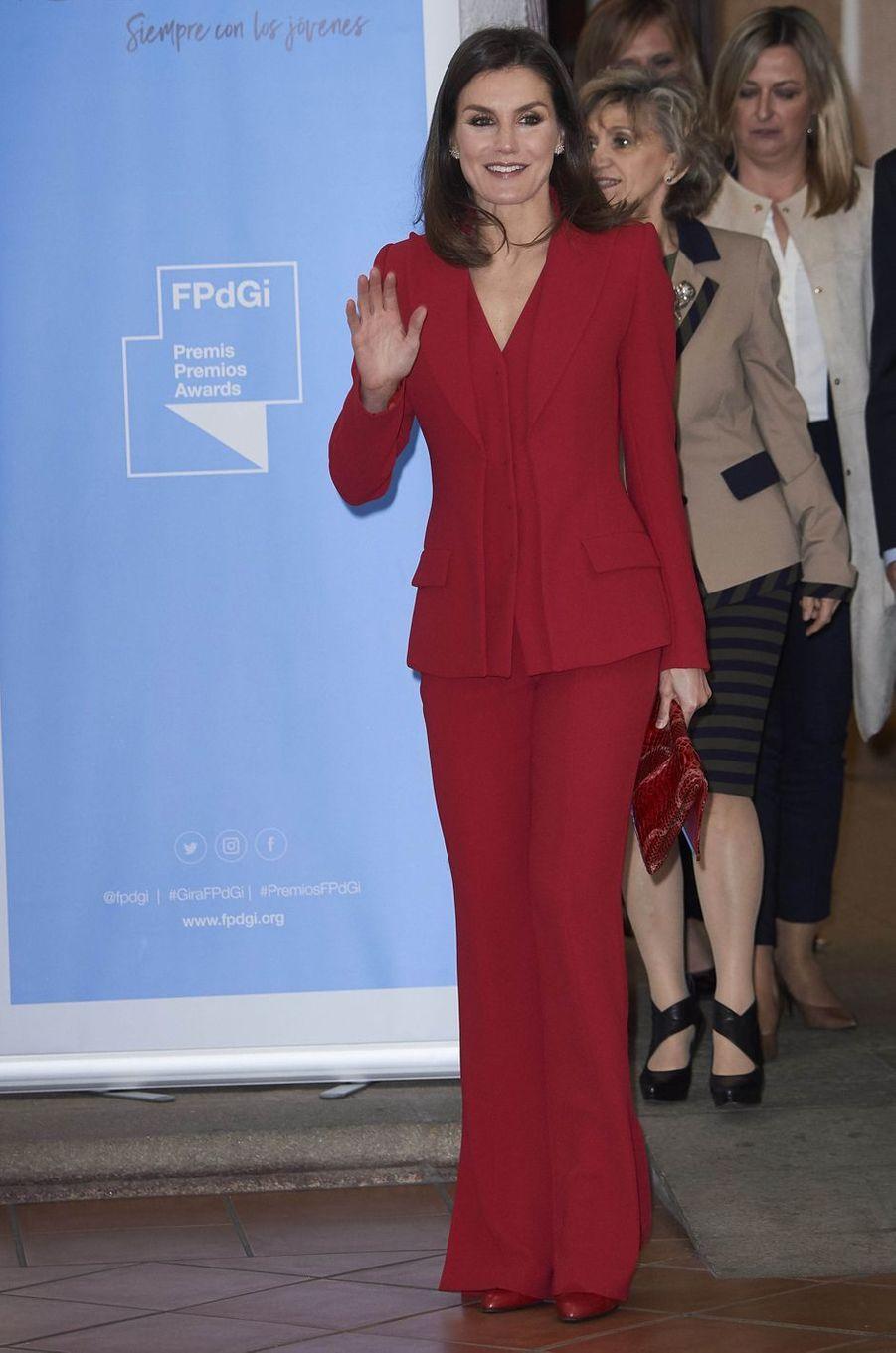 La reine Letizia d'Espagne à Cáceres en Estrémadure, le 6 mars 2019