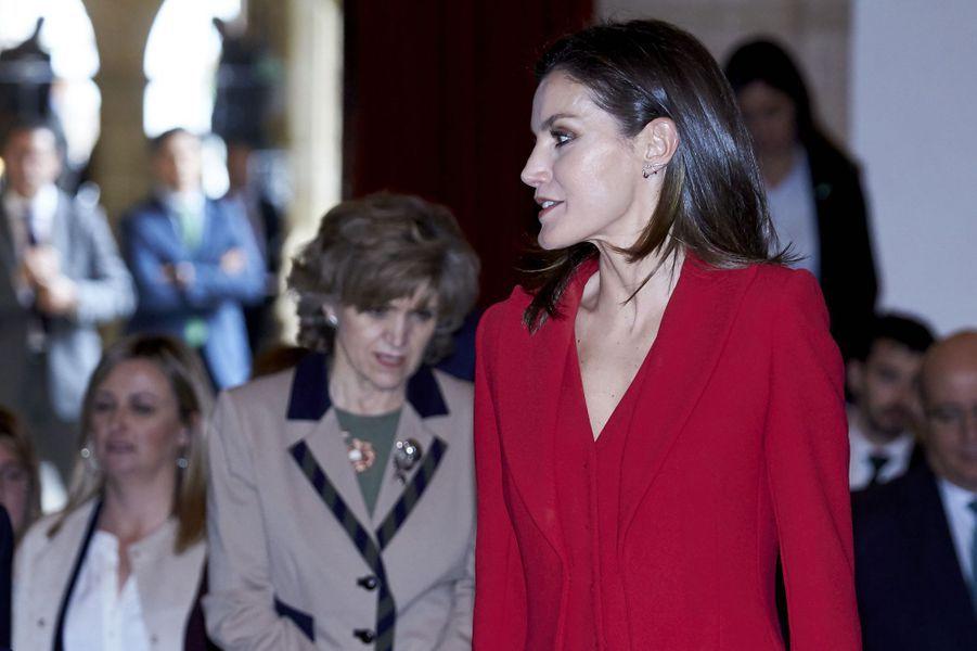 La reine Letizia d'Espagne à Cáceres, le 6 mars 2019