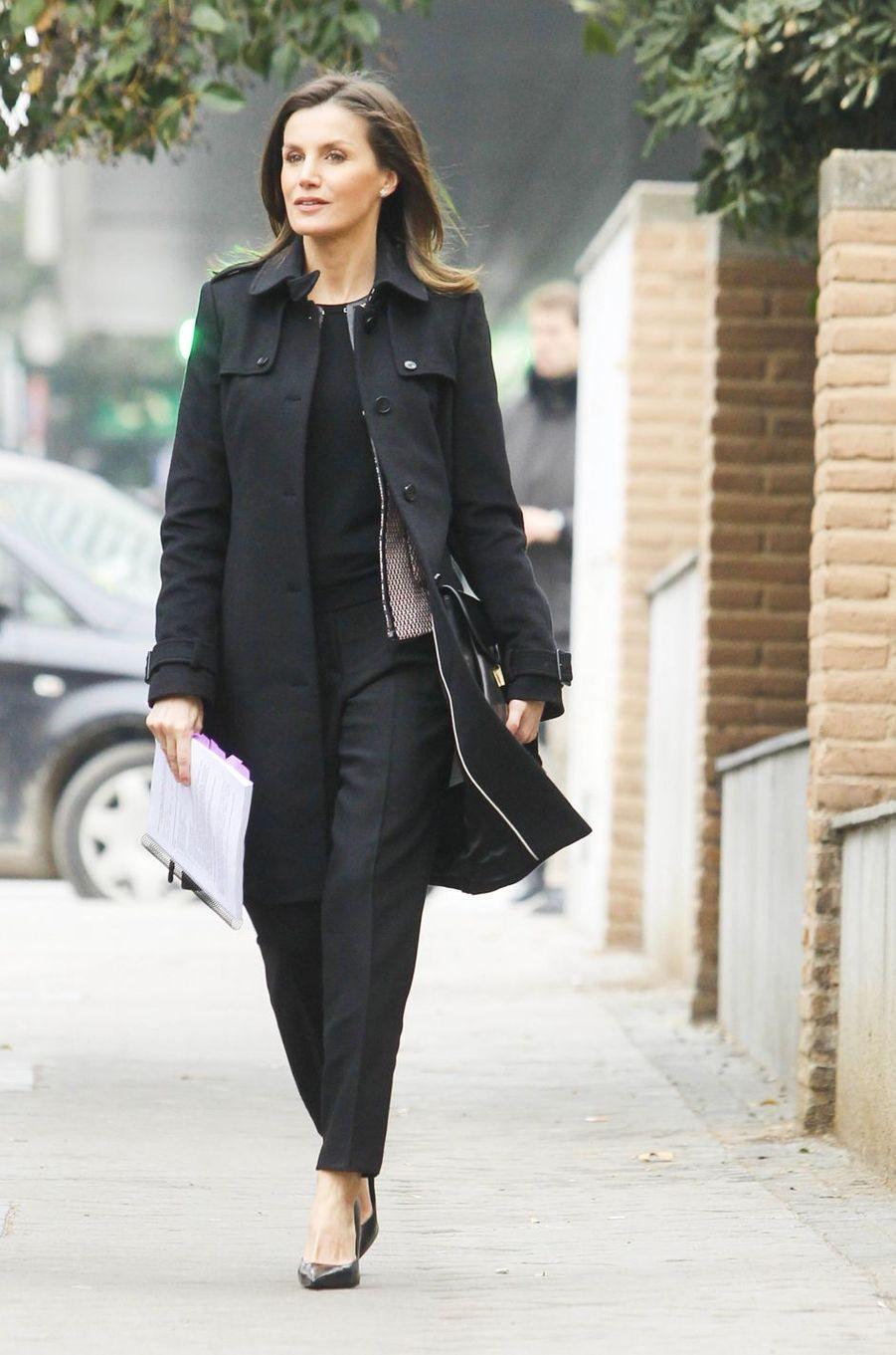La reine Letizia d'Espagne se rend à une réunion à Madrid, le 17 janvier 2019