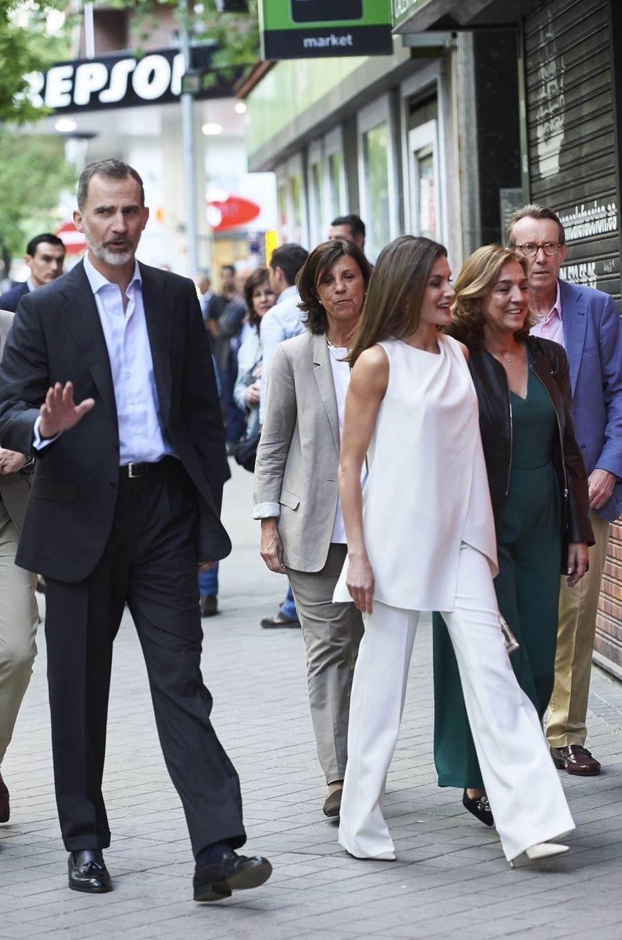 La reine Letizia et le roi Felipe VI d'Espagne à Madrid, le 17 mai 2018