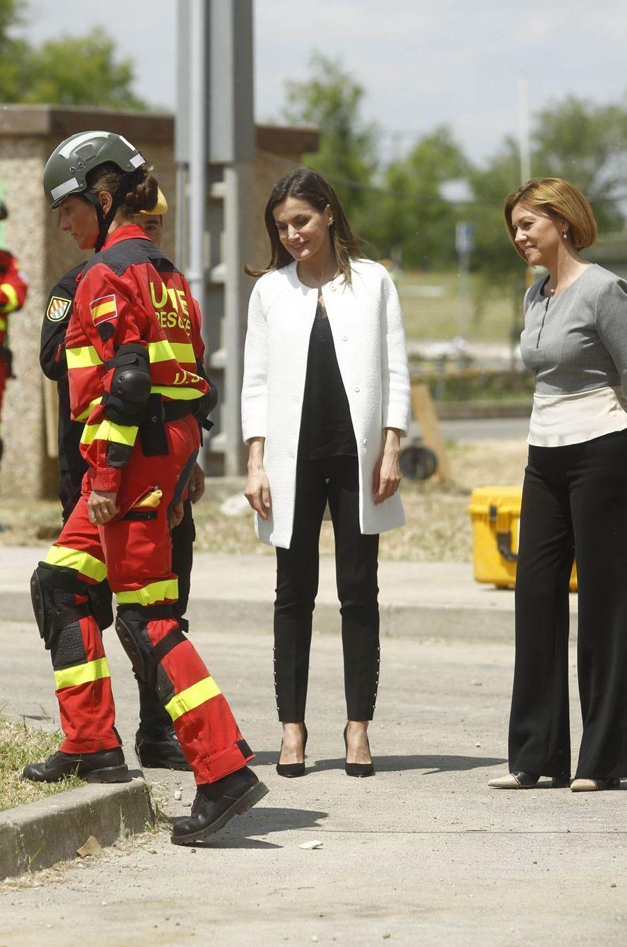 La reine Letizia d'Espagne, le 18 mai 2018 à la base aérienne de Torrejón de Ardoz