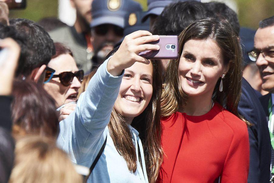 La reine Letizia d'Espagne à Huelva, le 11 avril 2018