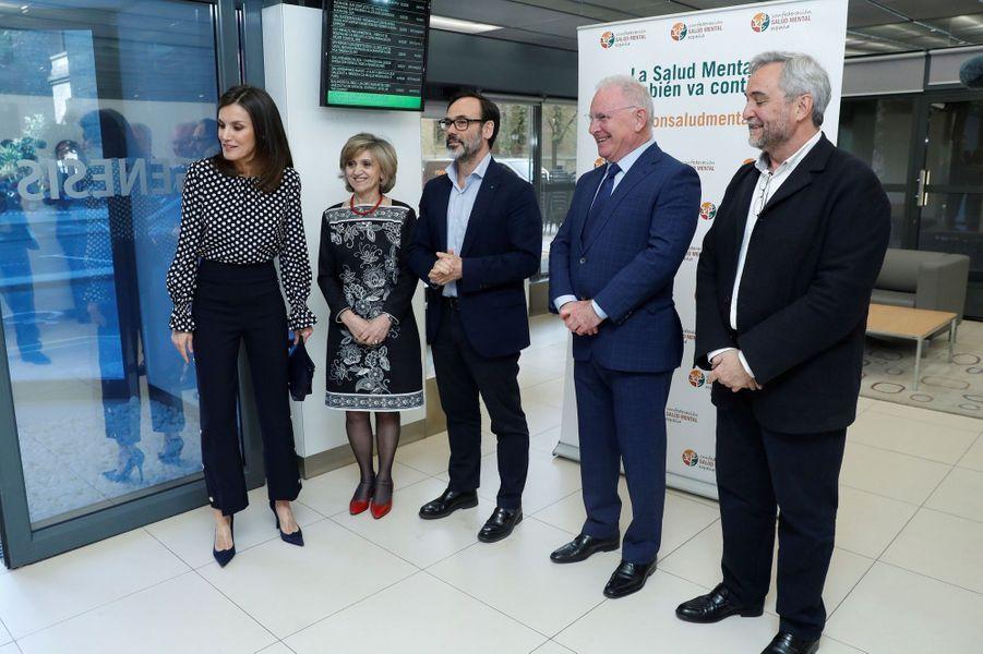 La reine Letizia d'Espagne au siège de EFE à Madrid, le 3 avril 2019