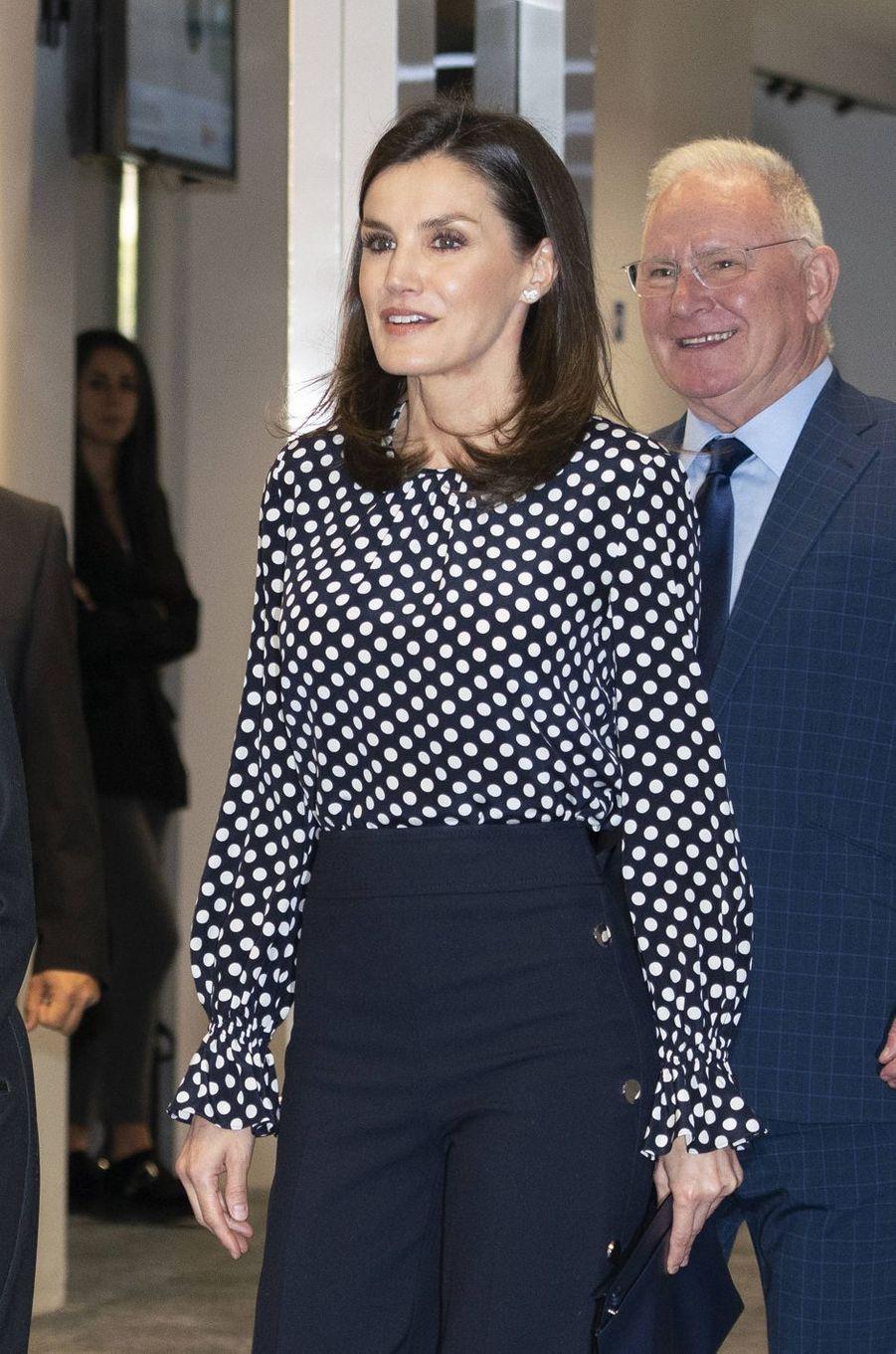 La reine Letizia d'Espagne à Madrid, le 3 avril 2019