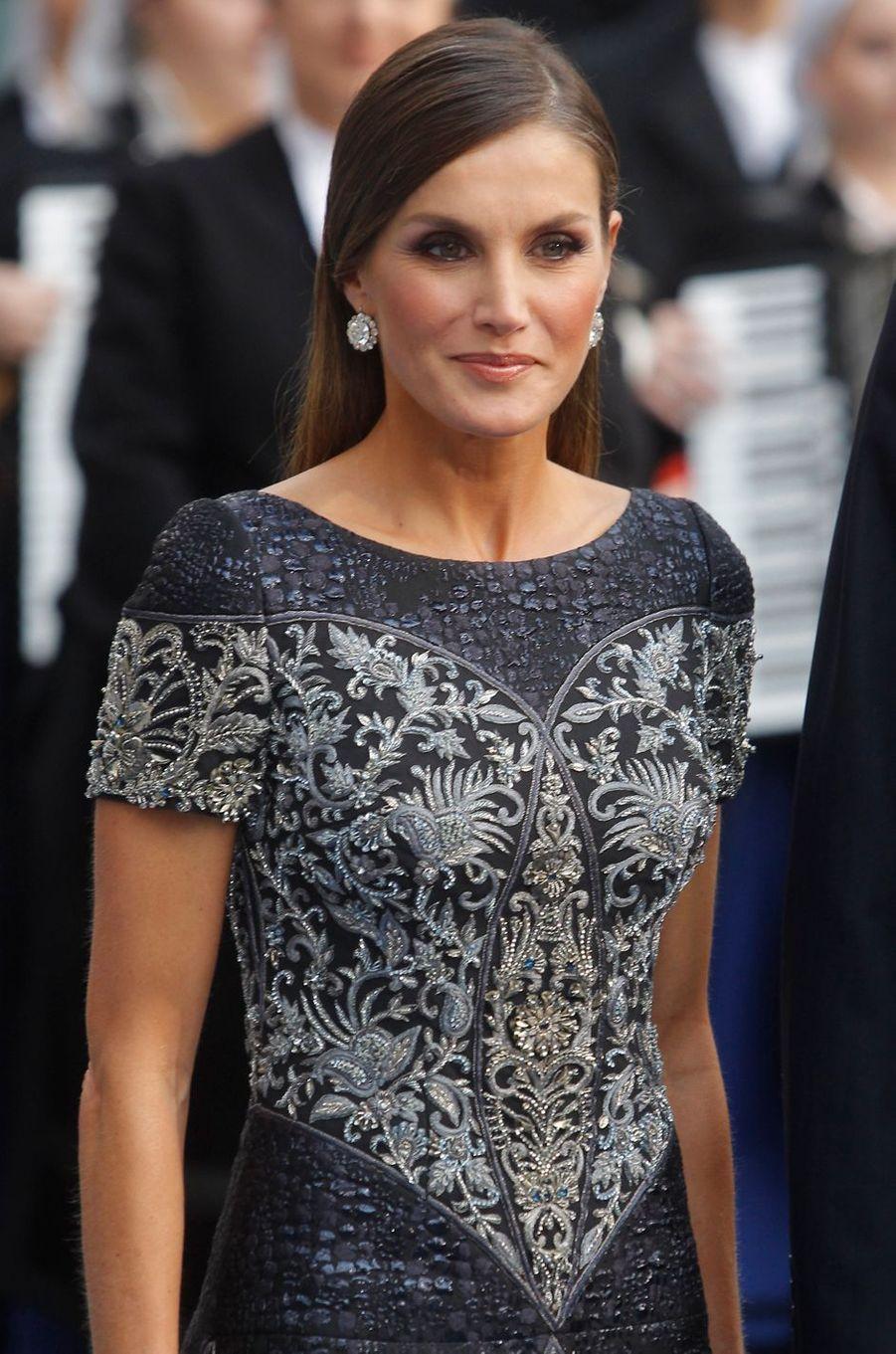 La reine Letizia d'Espagne à Oviedo, le 19 octobre 2018