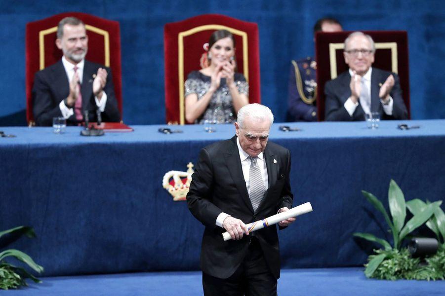 Martin Scorsese avec la reine Letizia et le roi Felipe VI d'Espagne à Oviedo, le 19 octobre 2018