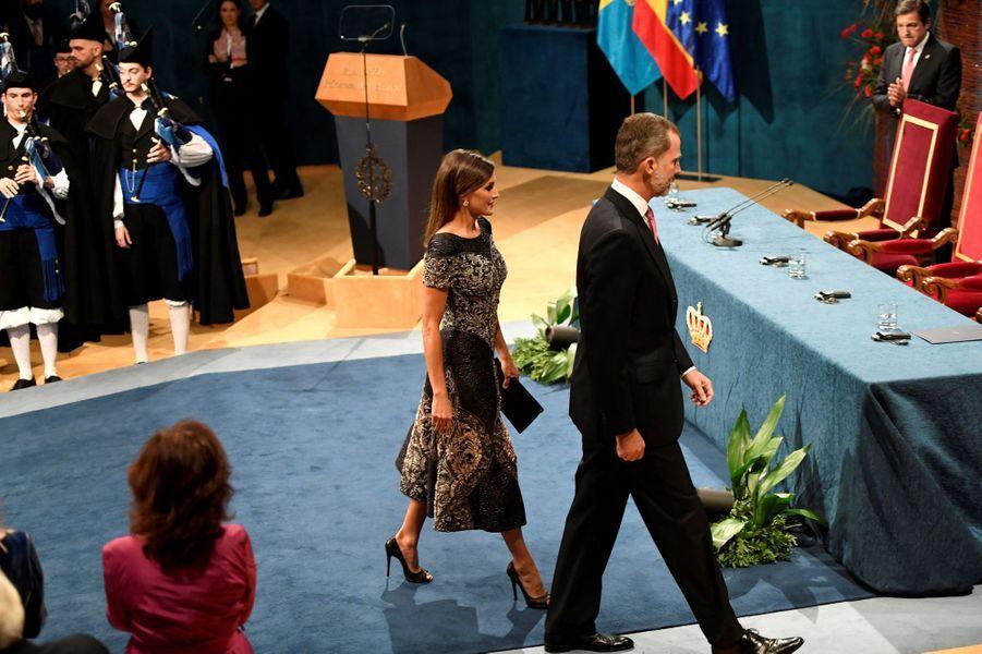 La reine Letizia et le roi Felipe VI d'Espagne à Oviedo, le 19 octobre 2018
