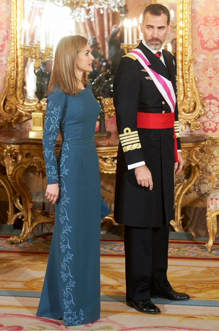 La reine Letizia d'Espagne à la Pascua Militar, le 6 janvier 2015