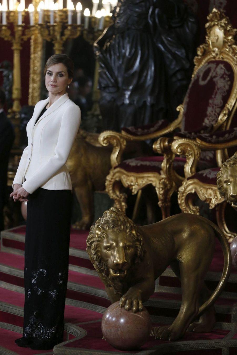 La reine Letizia d'Espagne à la Pascua Militar, le 6 janvier 2016