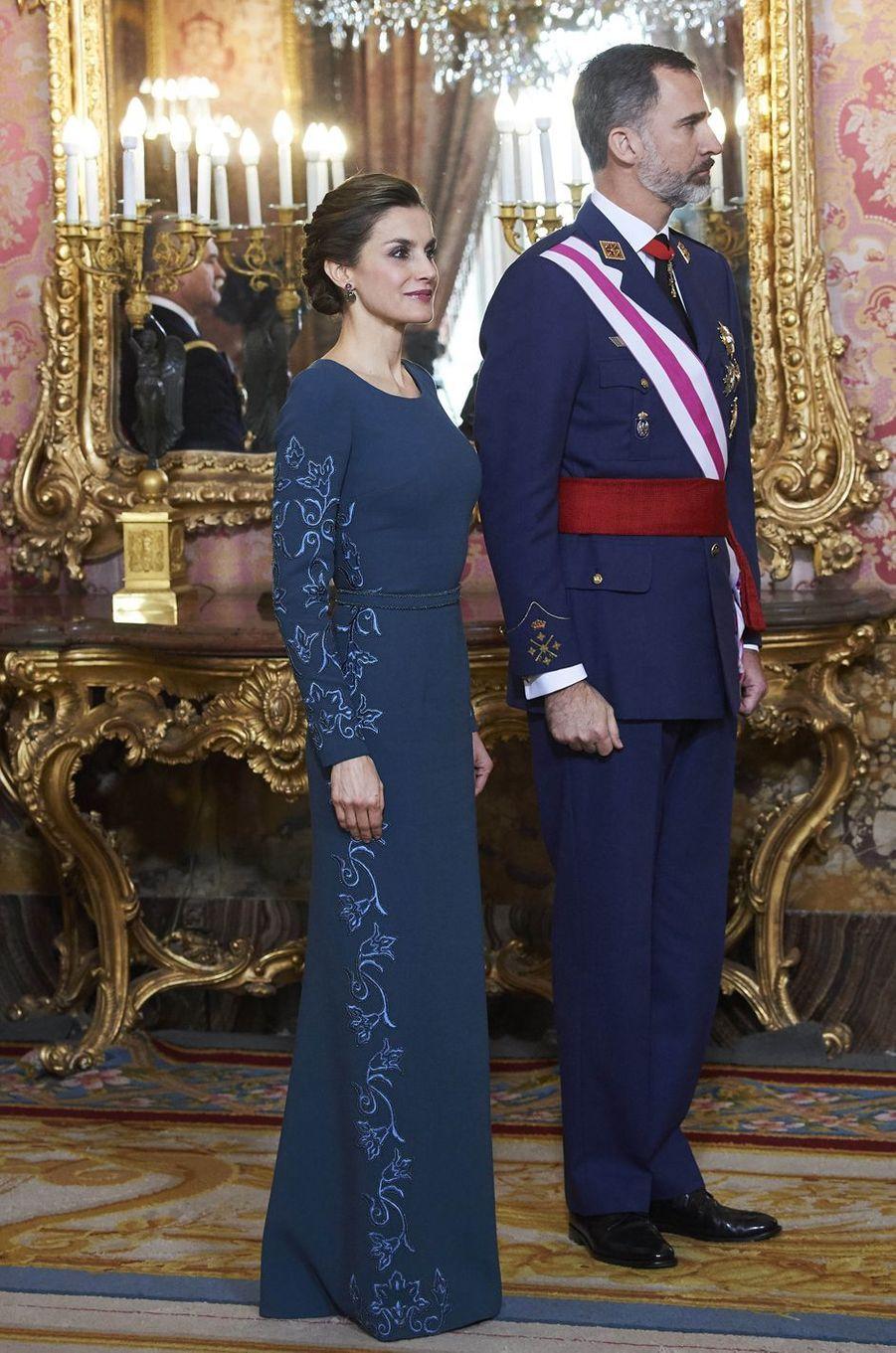 La reine Letizia d'Espagne à la Pascua Militar, le 6 janvier 2017