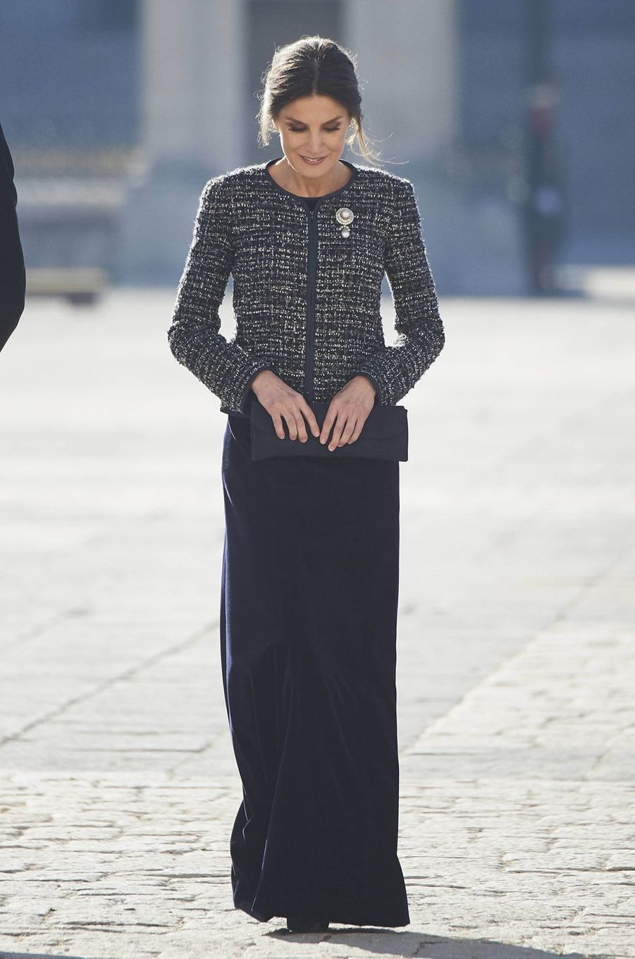 La reine Letizia d'Espagne dans une veste Armani à la Pascua Militar, le 6 janvier 2019