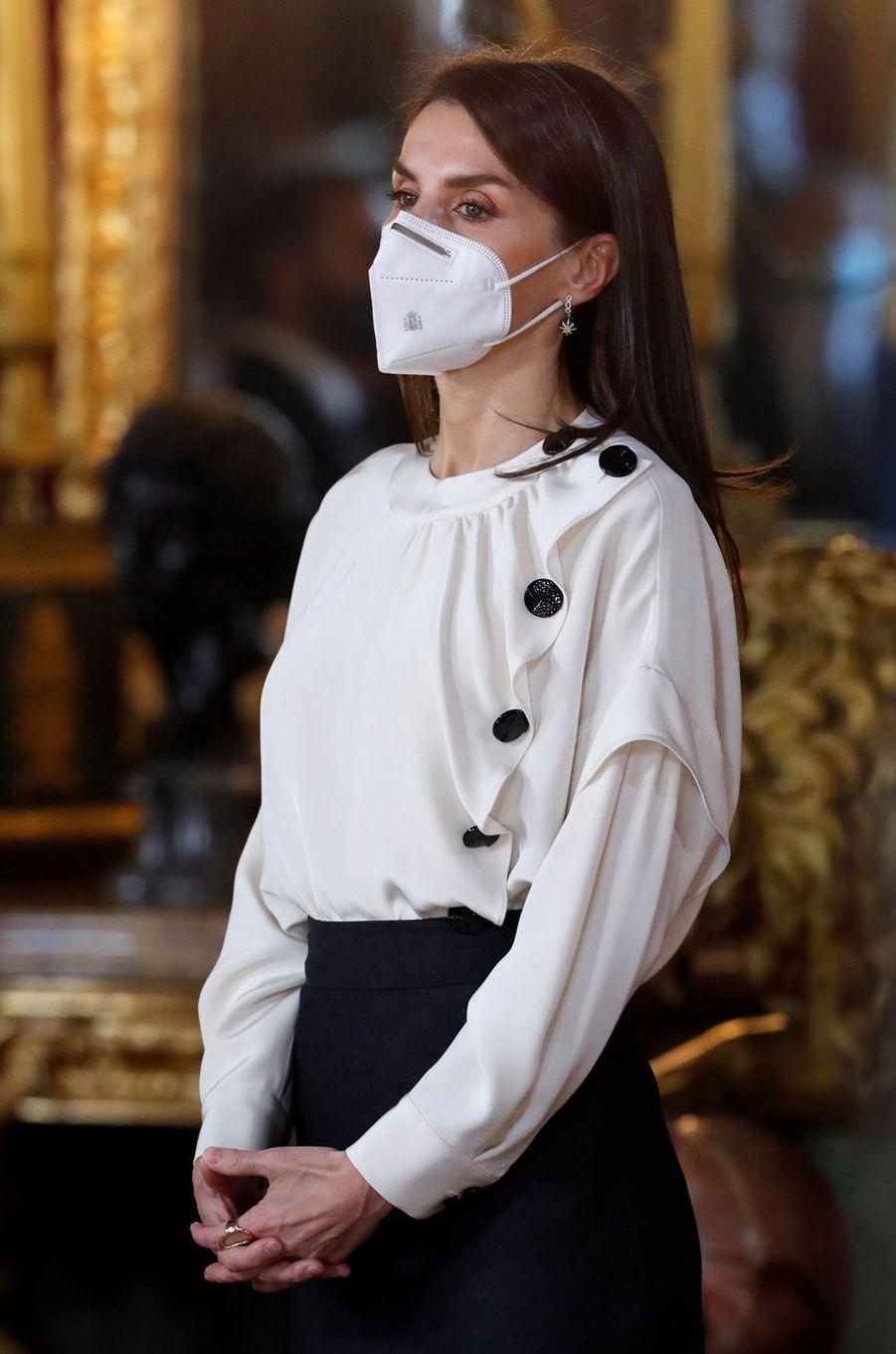 La reine Letizia d'Espagne à la Pascua Militar, le 6 janvier 2021