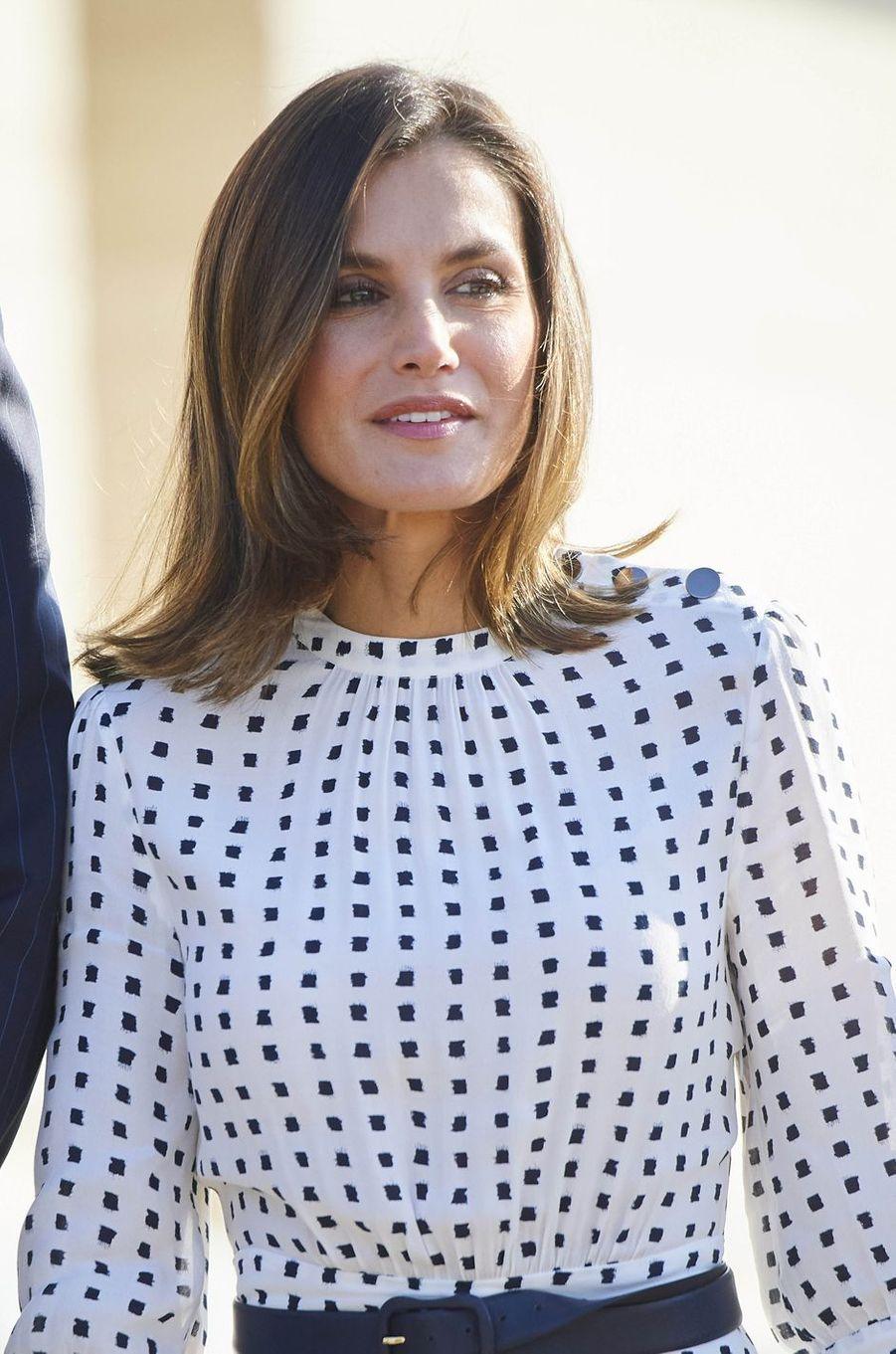 La reine Letizia d'Espagne à Villamayor, le 18 septembre 2018