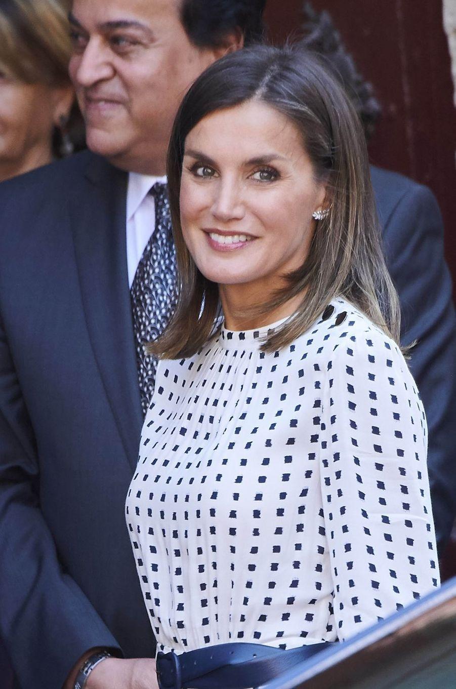La reine Letizia d'Espagne à Salamanque, le 18 septembre 2018
