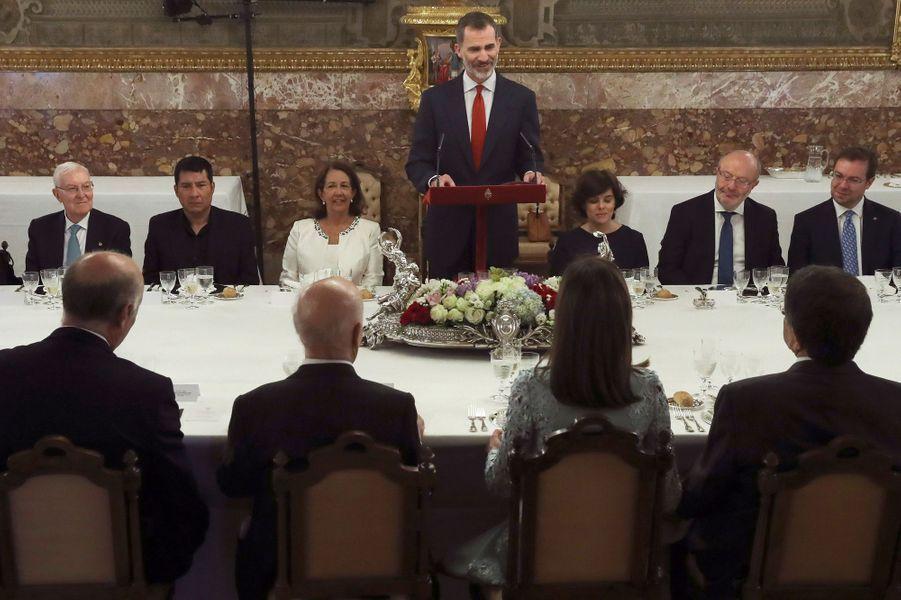 Le roi Felipe VI et la reine Letizia d'Espagne à Madrid, le 20 avril 2018