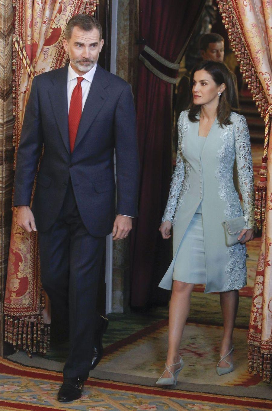 La reine Letizia et le roi Felipe VI d'Espagne à Madrid, le 20 avril 2018