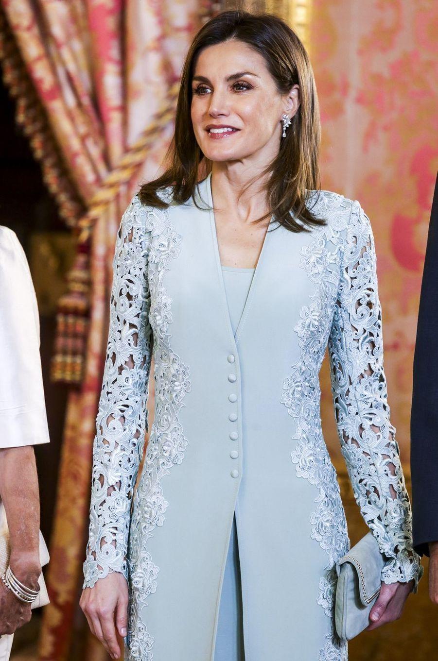 La reine Letizia d'Espagne à Madrid, le 20 avril 2018