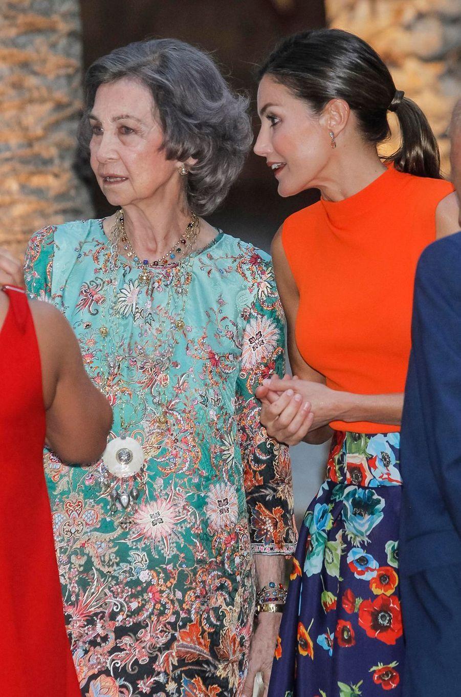 L'ex-reine Sofia et la reine Letizia d'Espagne à Palma de Majorque, le 3 août 2018