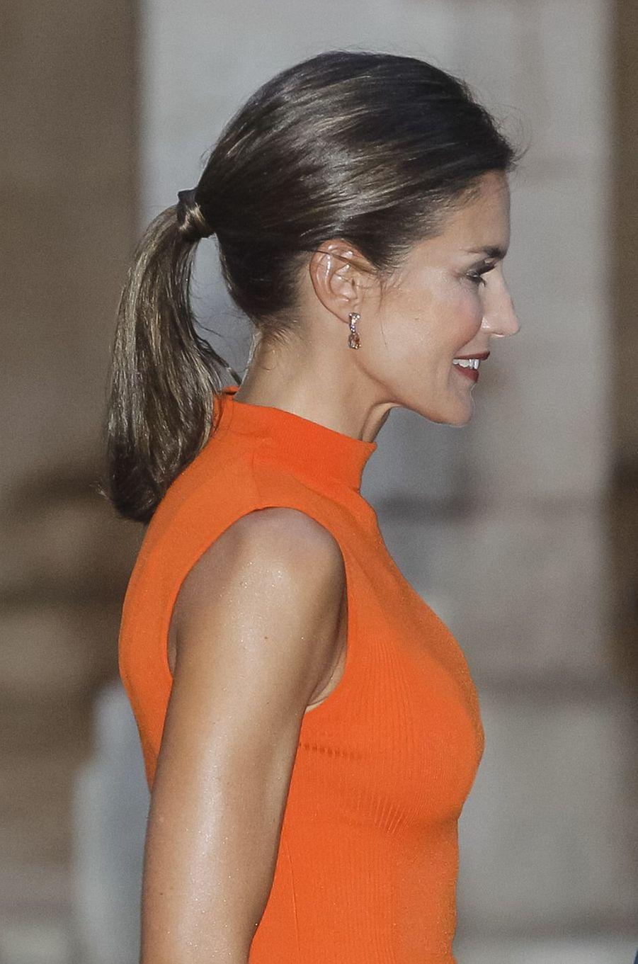 La reine Letizia d'Espagne à Palma de Majorque, le 3 août 2018