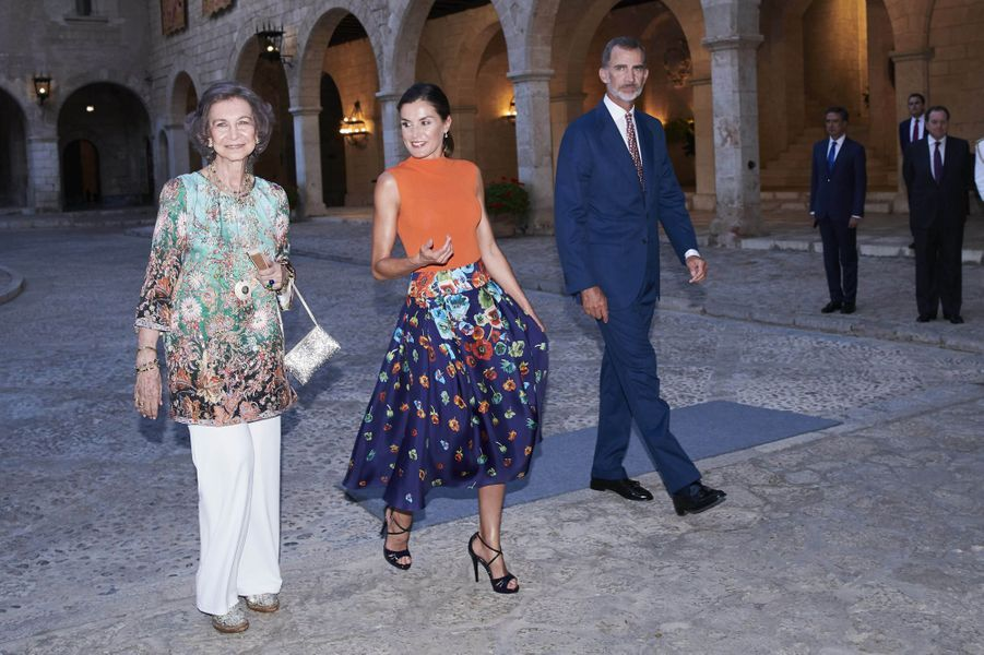 L'ex-reine Sofia, la reine Letizia et le roi Felipe VI d'Espagne à Palma de Majorque, le 3 août 2018