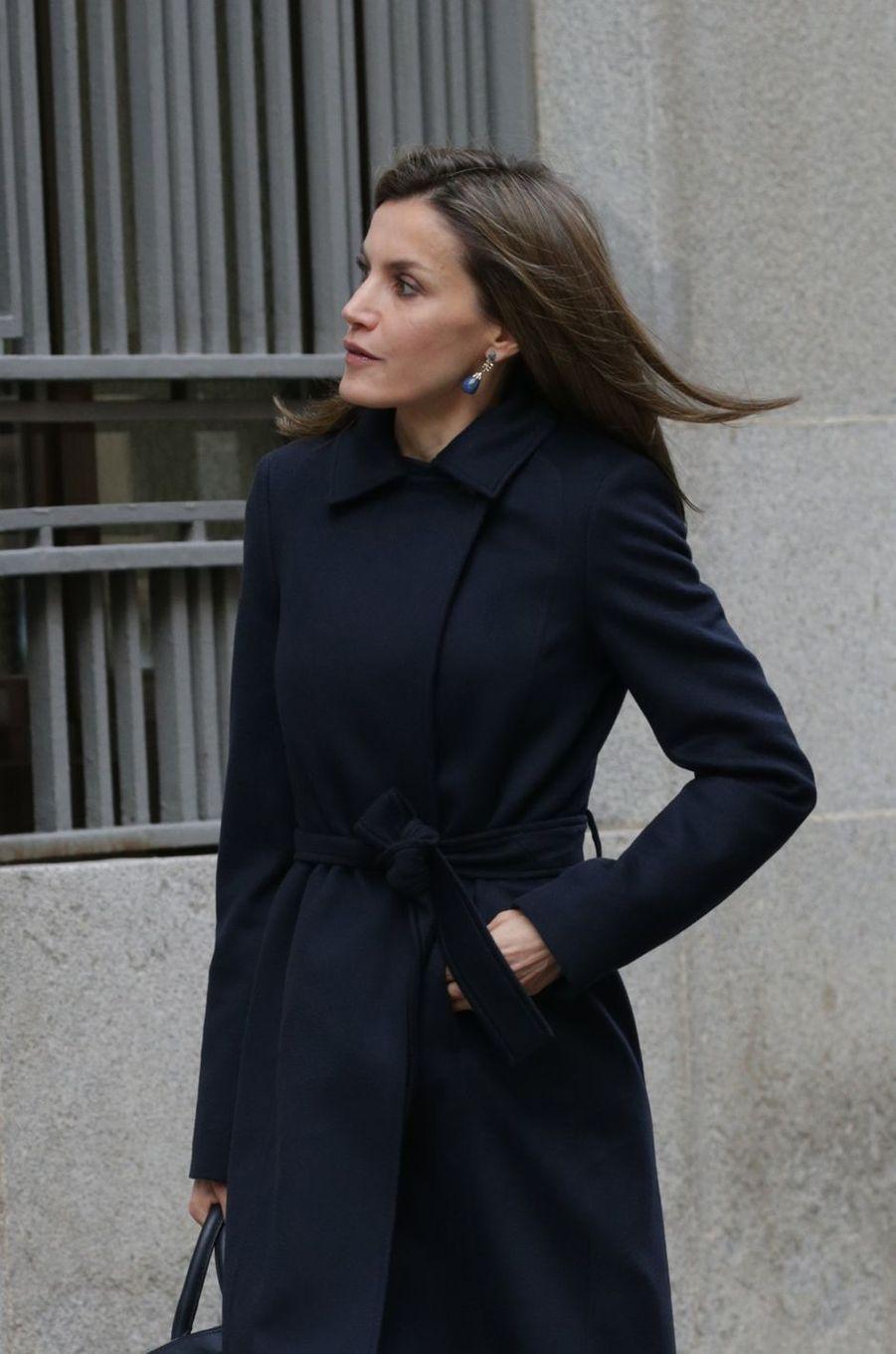 La reine Letizia d'Espagne à Madrid, le 10 janvier 2017