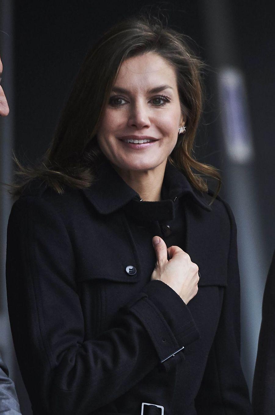 La reine Letizia d'Espagne tout sourire à Madrid, le 10 janvier 2018