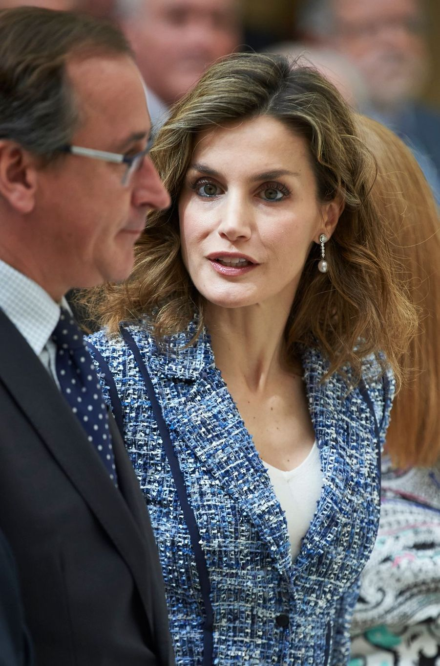 La reine Letizia d'Espagne à Madrid, le 8 juillet 2016