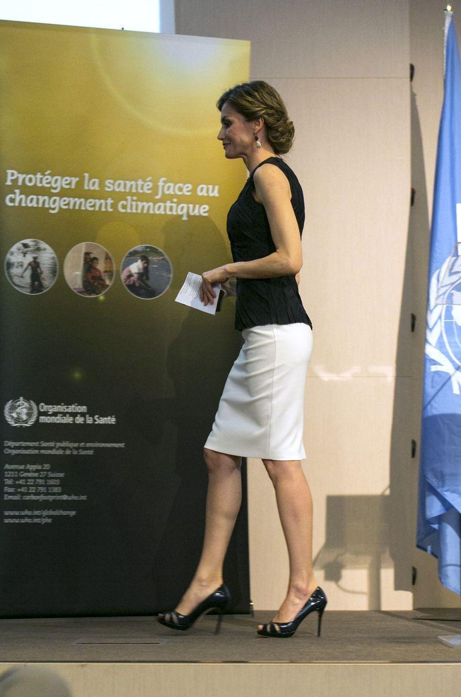 La reine Letizia d'Espagne à Paris, le 7 juillet 2016