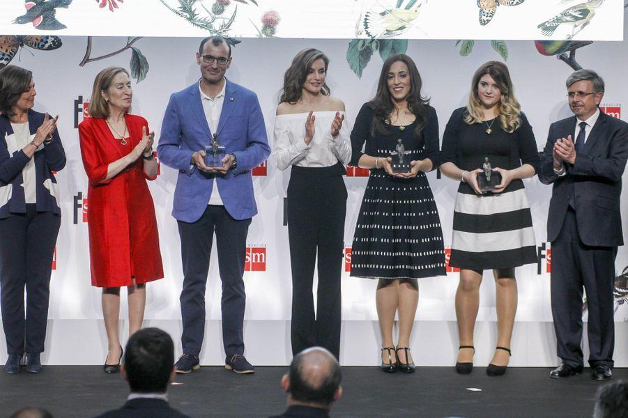 La reine Letizia d'Espagne à Madrid, le 18 avril 2017