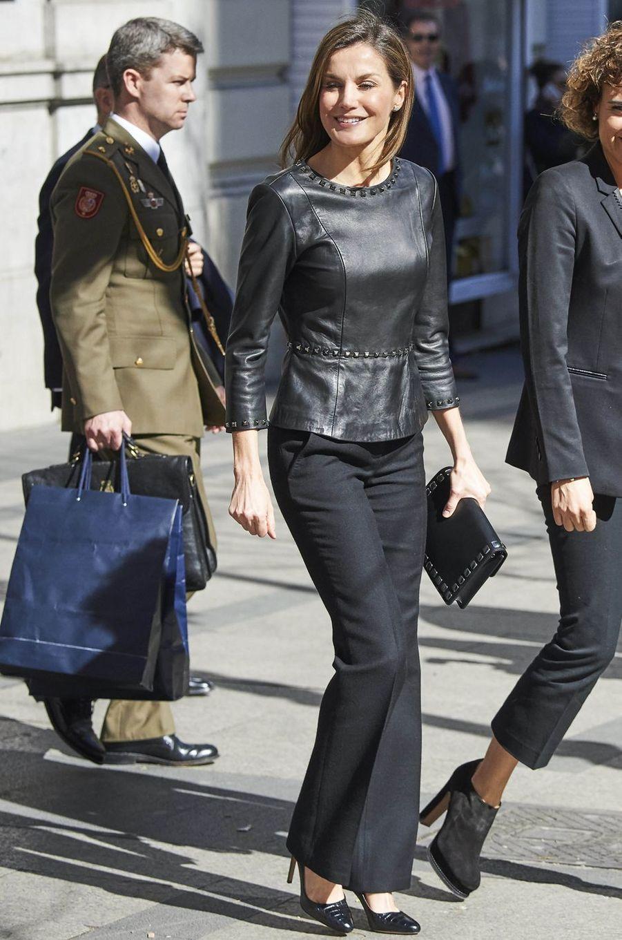 La reine Letizia d'Espagne à Madrid, le 21 février 2018