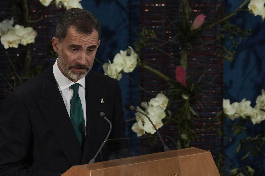 Le roi Felipe VI d'Espagne à Oviedo, le 20 octobre 2017