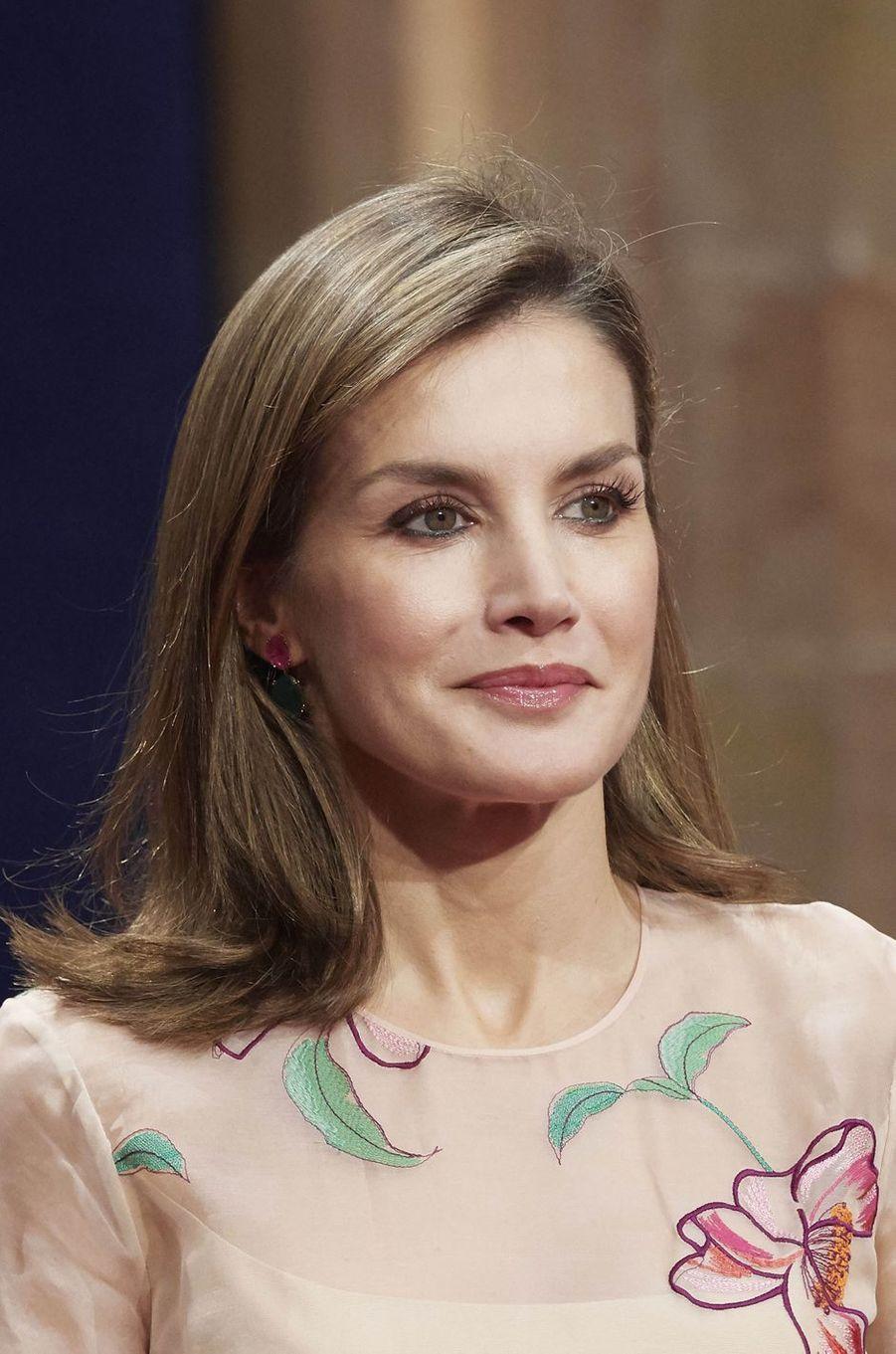 La reine Letizia d'Espagne à Oviedo, le 20 octobre 2017