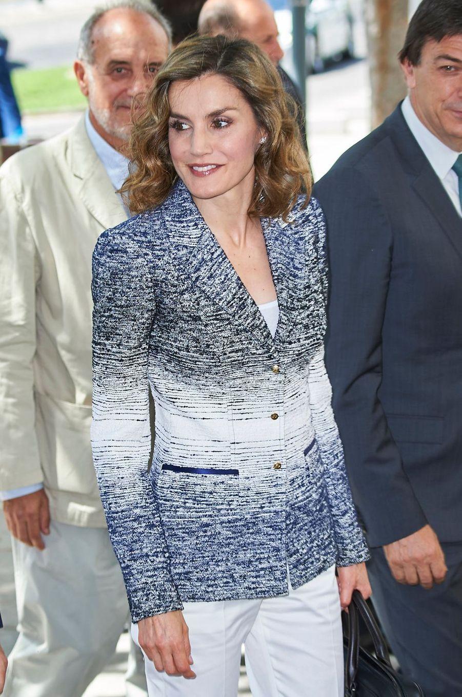 La reine Letizia d'Espagne à San Lorenzo de El Escorial, le 28 juin 2016