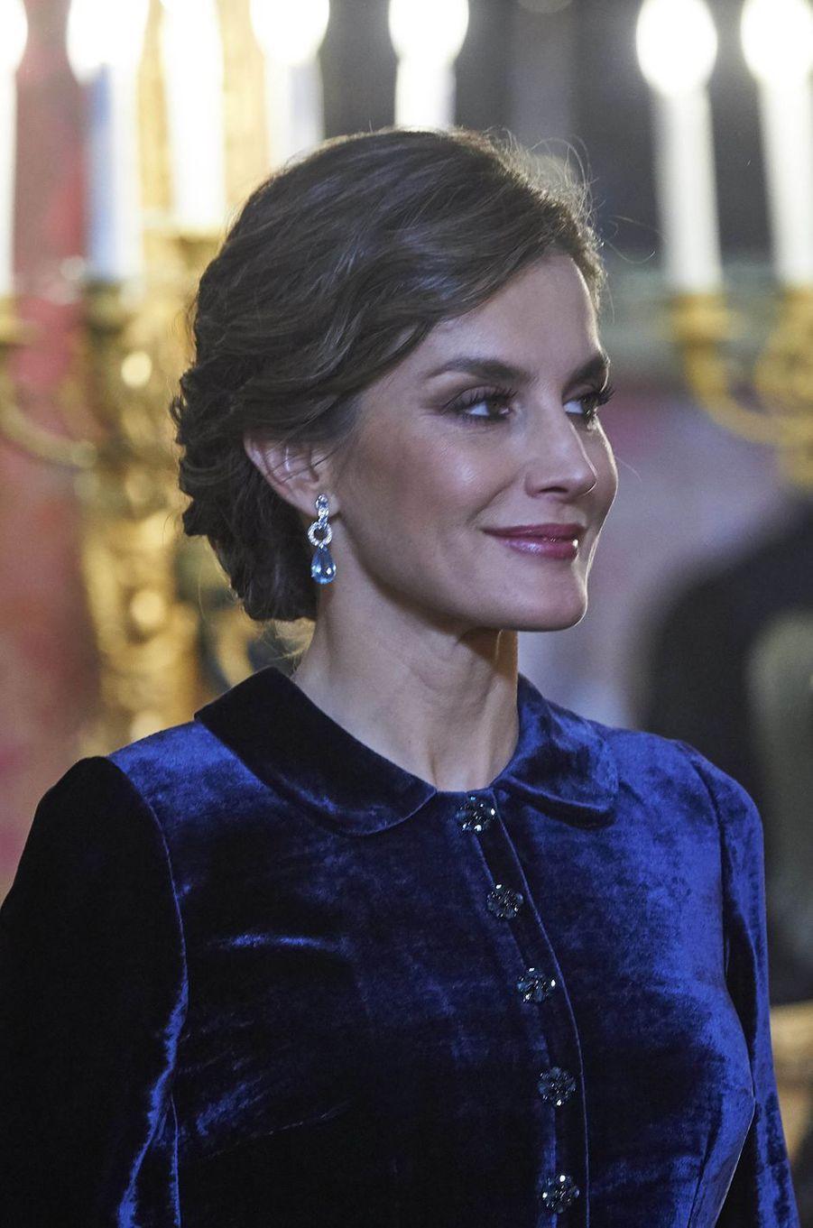 La reine Letizia d'Espagne à Madrid, le 6 janvier 2018