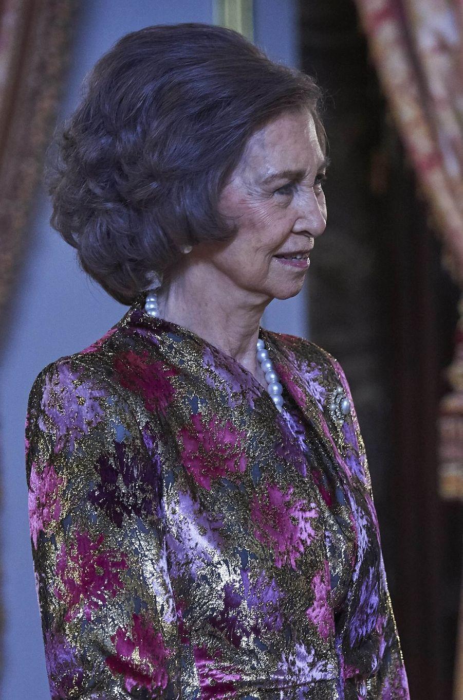 L'ancienne reine Sofia d'Espagne à Madrid, le 6 janvier 2018