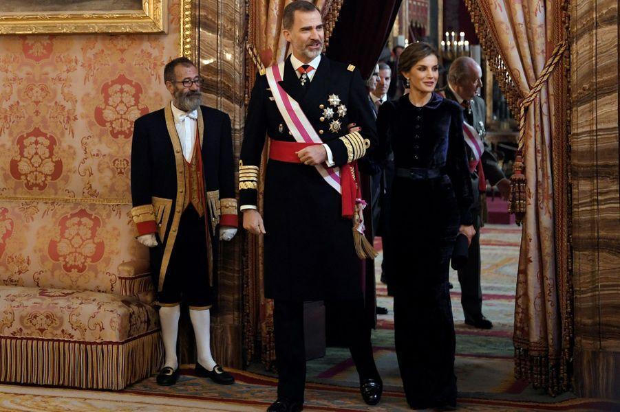 Le roi Felipe VI et la reine Letizia d'Espagne à Madrid, le 6 janvier 2018