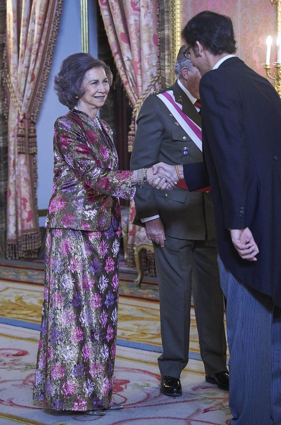 L'ancien roi Juan Carlos et l'ancienne reine Sofia d'Espagne à Madrid, le 6 janvier 2018