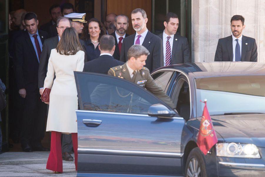 La reine Letizia d'Espagne arrive à Valladolid, le 22 mars 2018