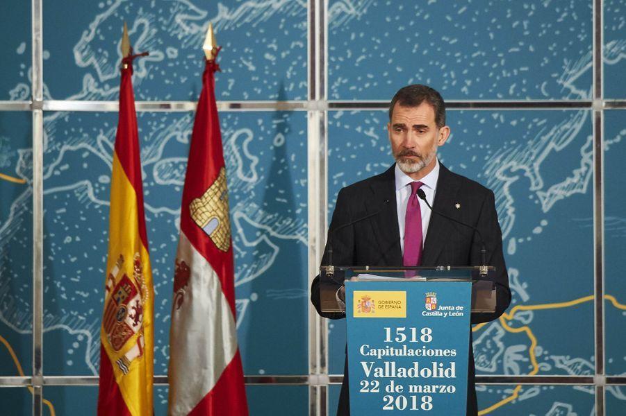 Le roi Felipe VI d'Espagne à Valladolid, le 22 mars 2018