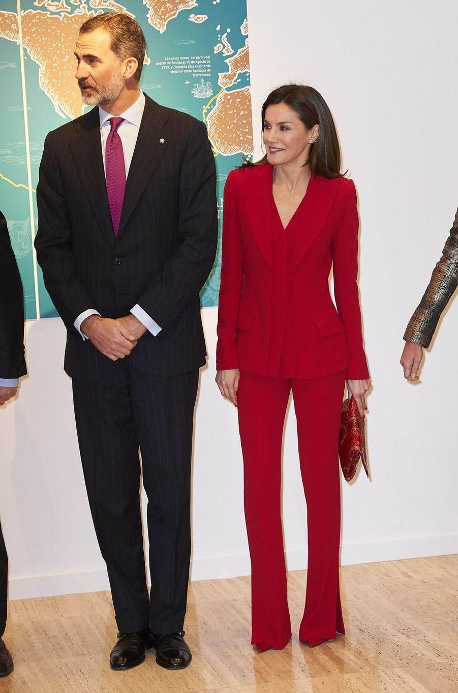 La reine Letizia et le roi Felipe VI d'Espagne à Valladolid, le 22 mars 2018