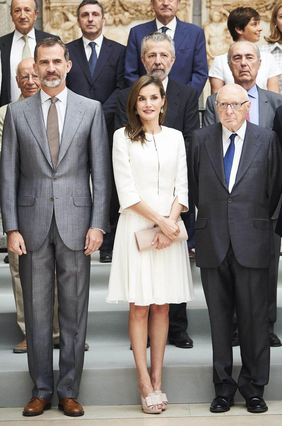 La reine Letizia et le roi Felipe VI d'Espagne à Madrid, le 19 juin 2017