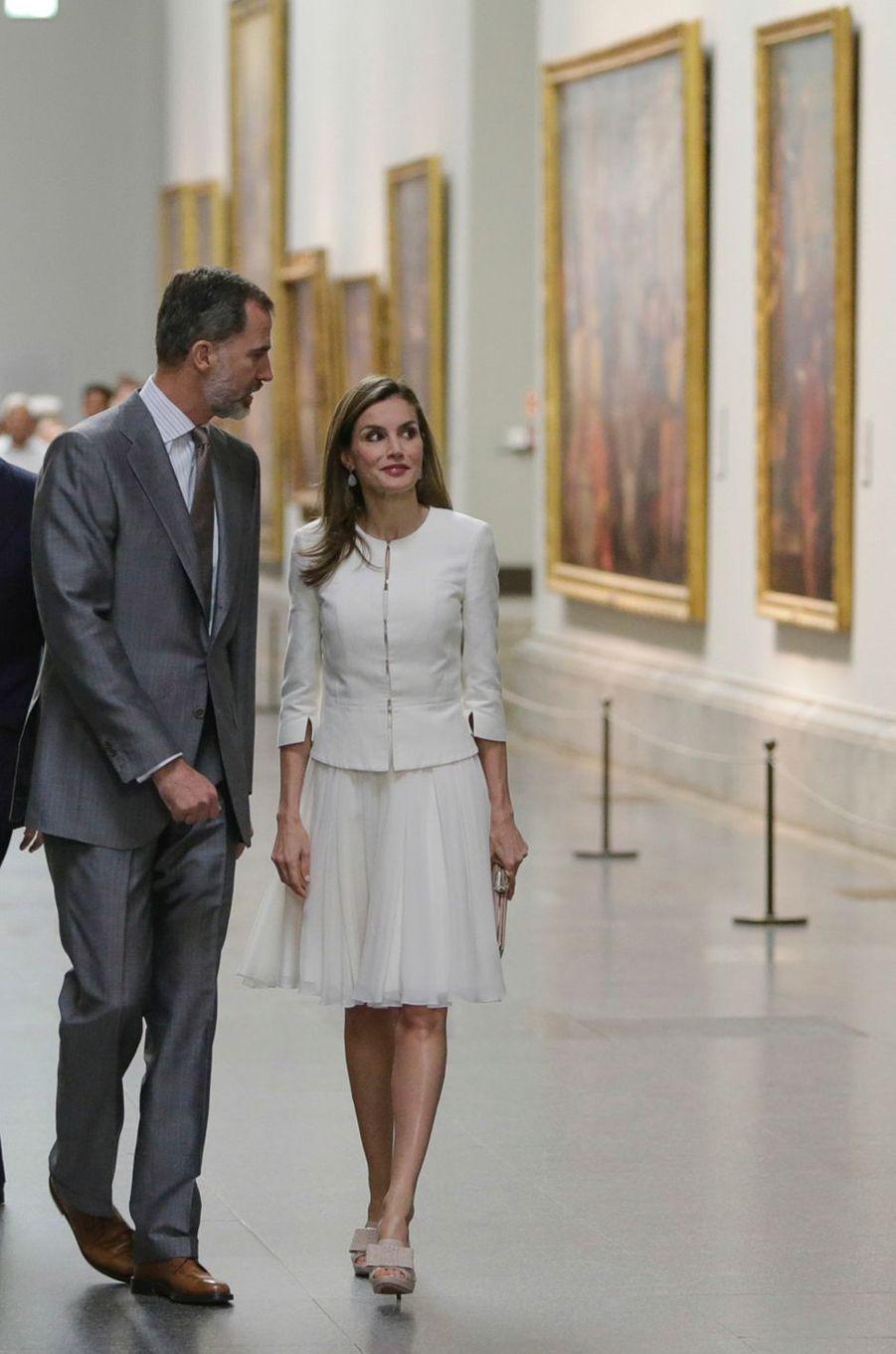 La reine Letizia et le roi Felipe VI d'Espagne au Musée du Prado à Madrid, le 19 juin 2017